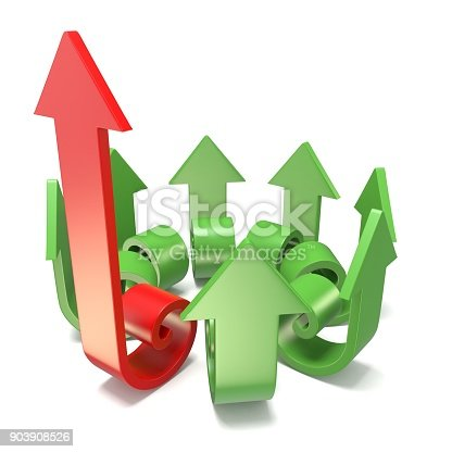 istock Green spiral arrows directed of the center with one red arrow faster than others 3D 903908526
