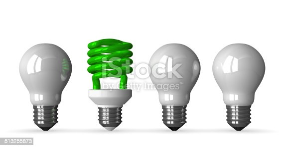 637573406istockphoto Green spiral light bulb and three white tungsten ones 513255873