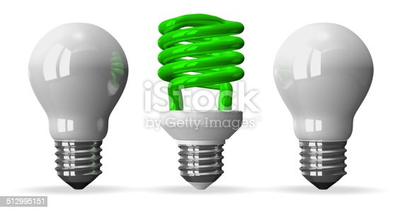 637573406istockphoto Green spiral light bulb and two white tungsten ones 512995151