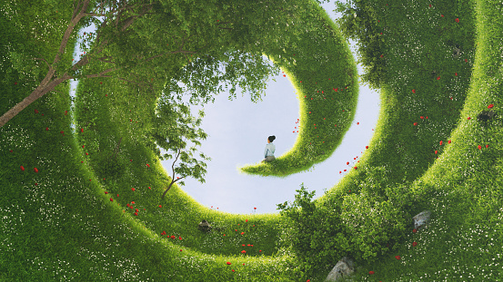 A female sitting at the end of a bizarre garden on a spiral landscape. All items in the scene are 3D