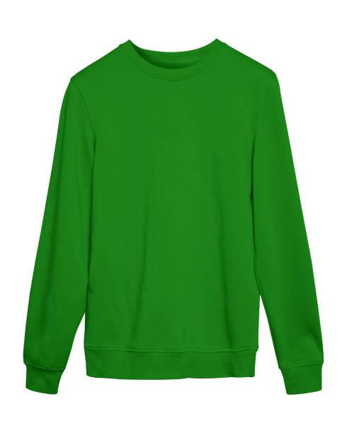 grünen sport leer sweatshirt isoliert auf weiss - fleecepullover stock-fotos und bilder
