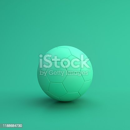 istock Green sport equipment football ball on green background, solid background, flat background, single color, 3d Rendering 1188684730