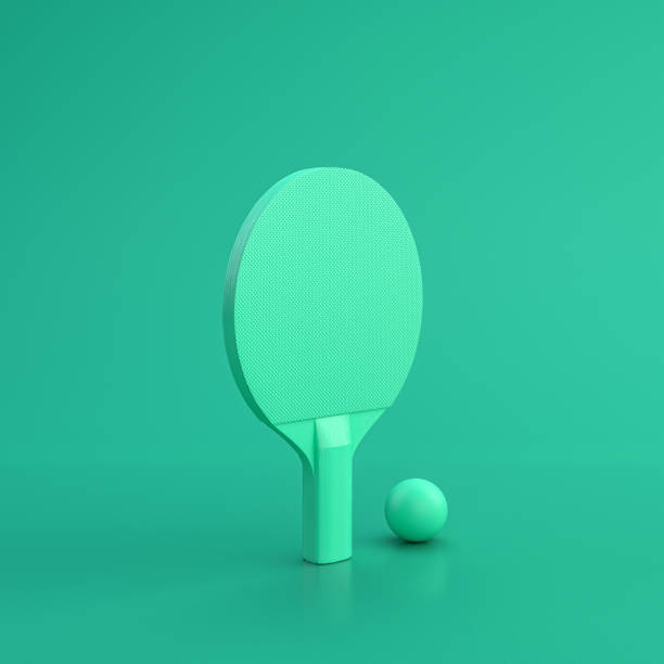 green sport equipment table tennis racket on green background, solid background, flat background, single color, 3d rendering - table tennis racket stock pictures, royalty-free photos & images