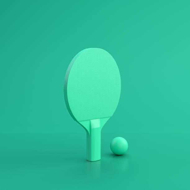 green sport equipment table tennis racket on green background, solid background, flat background, single color, 3d rendering - rakietka do tenisa stołowego zdjęcia i obrazy z banku zdjęć