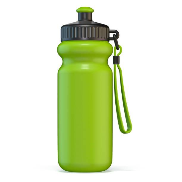 garrafa de água plástica do esporte verde que está 3d - sports water bottle - fotografias e filmes do acervo