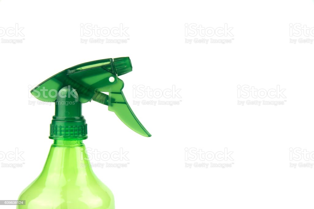 Green spray heads water on a white background. stock photo