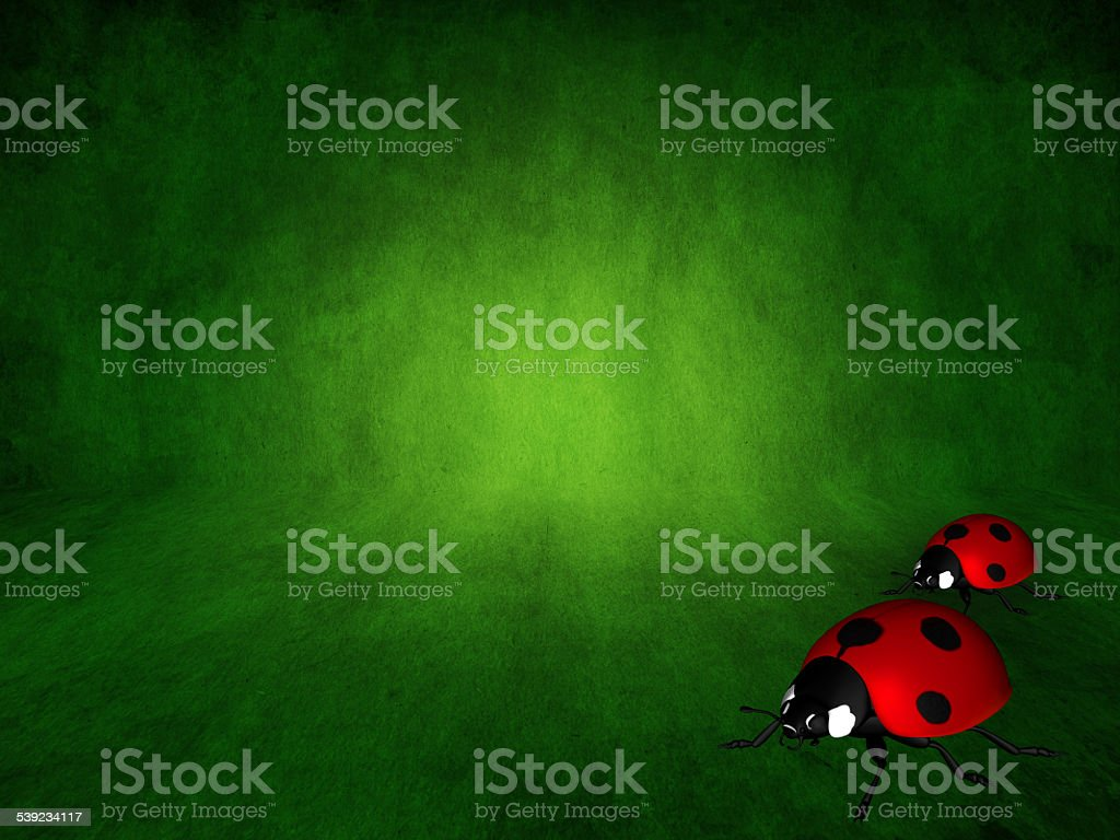 green spring background with two ladybirds royalty-free stock photo