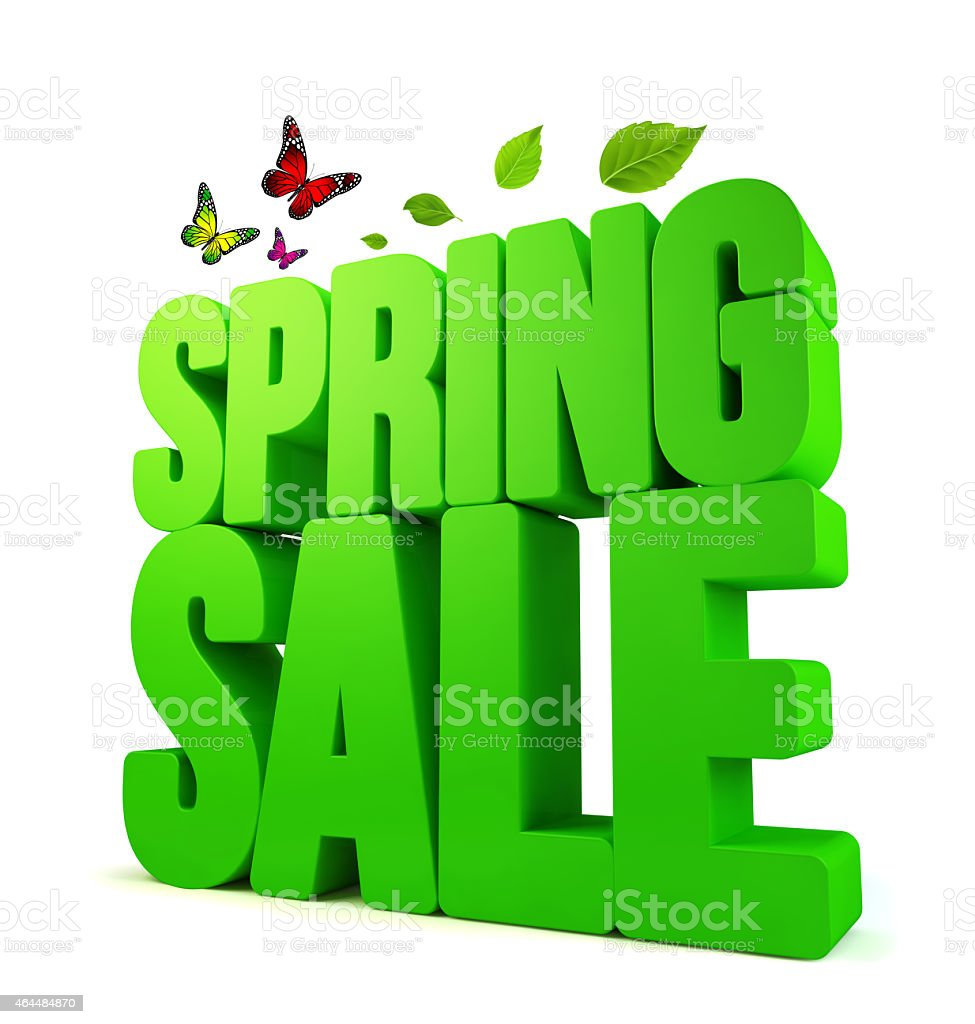 3D green spring sale graphic with leaves and butterflies stock photo