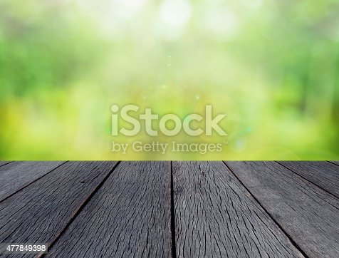 istock green spring with bokeh background and wooden floor 477849398