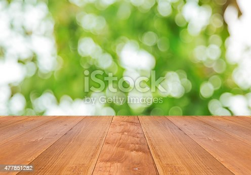 istock green spring with bokeh background and wooden floor 477851282