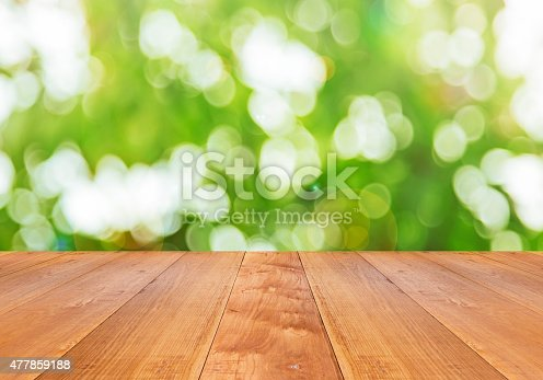 470927602 istock photo green spring with bokeh background and wooden floor 477859188
