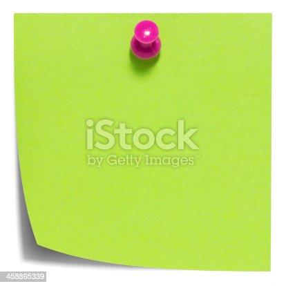 istock Green square sticky note, with a pink pin, isolated 458865339