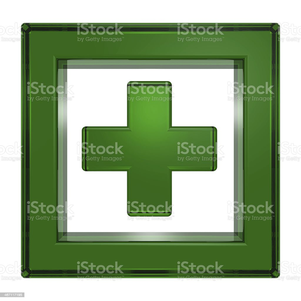 Green square with cross isolated on white stock photo