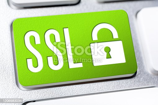 Green SSL Button With A Lock On A Keyboard, Secure Internet Concept