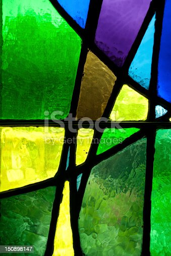 detail of a stained glass window.