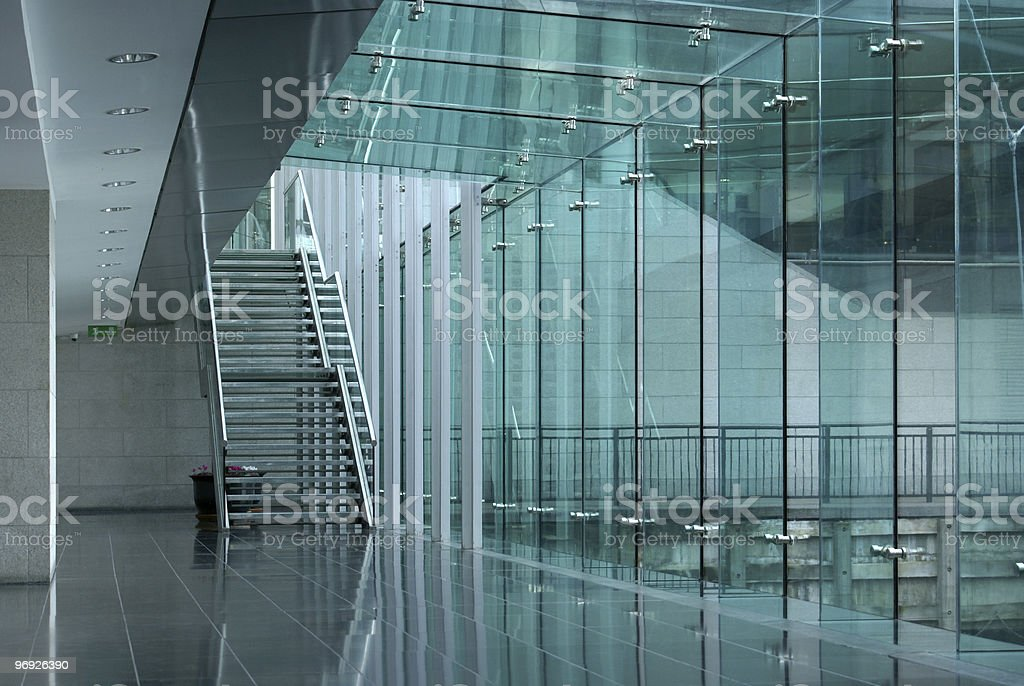 Green staircase and corridor royalty-free stock photo