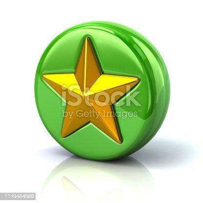 1140293905 istock photo Green star button 3d illustration 1149464569
