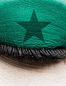 green star eyeshadow close-up