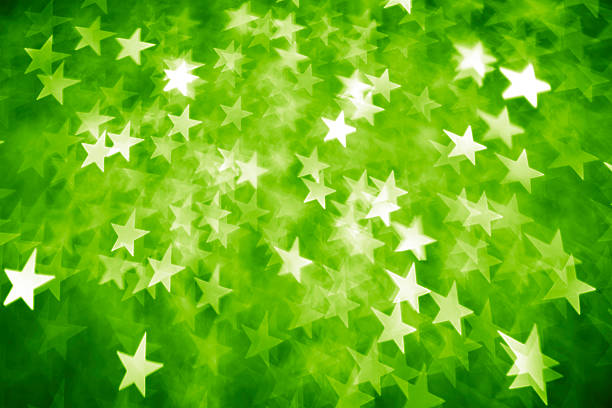 Green star shape lights stock photo