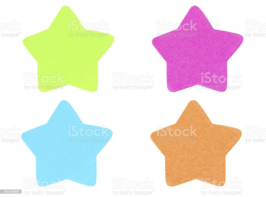 Green star shape sticky note. royalty-free stock photo