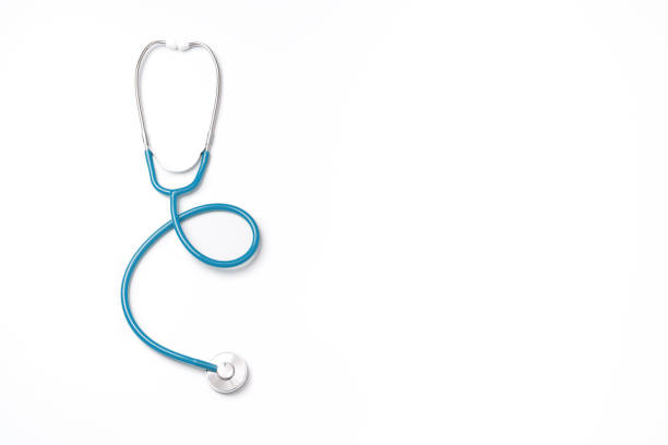Green stethoscope, object of doctor equipment, isolated on white background. Medical design concept. Green stethoscope, object of doctor equipment, isolated on white background. Medical design concept, cut out, clipping path, top view, studio shot. stethoscope stock pictures, royalty-free photos & images