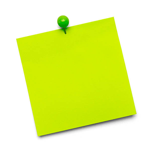 post-it verde - post it foto e immagini stock