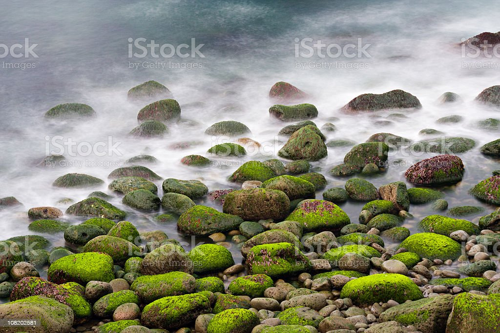 Green Stones In The Surf stock photo