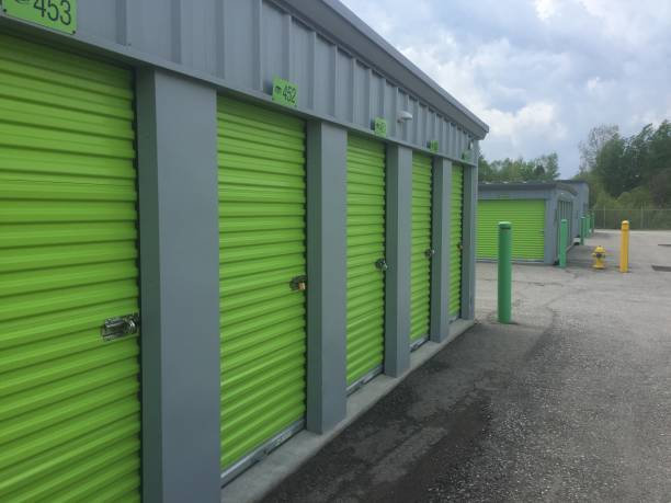 Green storage unit facility, unidentifiable stock photo