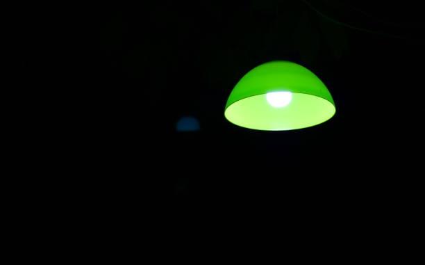 lumière de lampe de rue verte - cage animal nuit photos et images de collection
