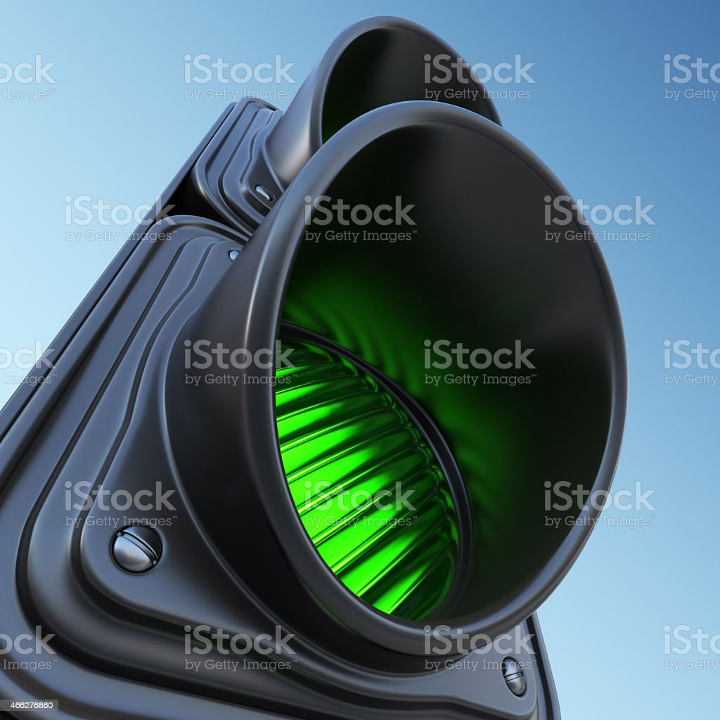 Green street traffic light on sky. 3D illustration stock photo