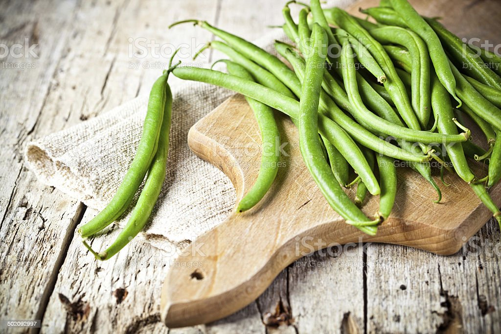 green string beans stock photo