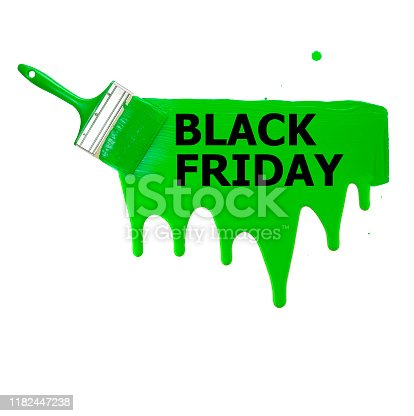 istock green stripe painted with a brush with the words Black Friday, smudges and drops of paint on a white background. isolate. 1182447238