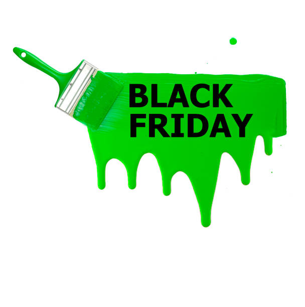 raya verde pintada con un pincel con las palabras Viernes Negro, manchas y gotas de pintura sobre un fondo blanco. Aislar. - foto de stock