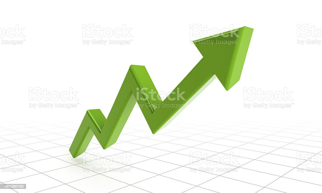 green success arrow on grids stock photo