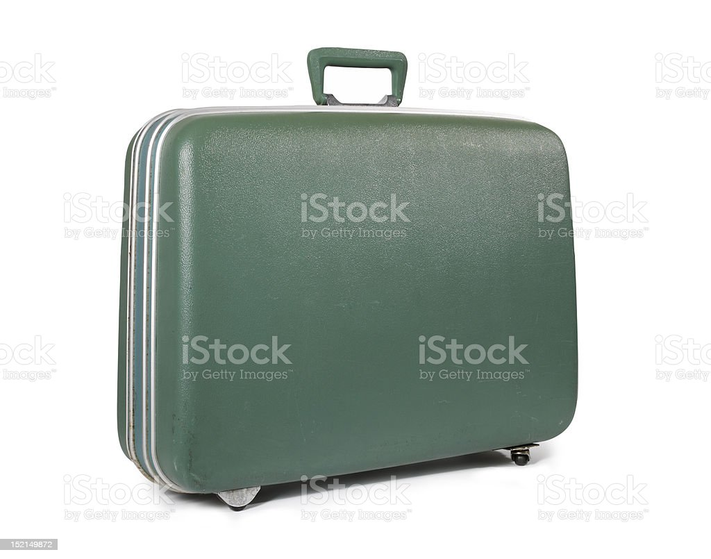 green Suitcase isolated on white stock photo
