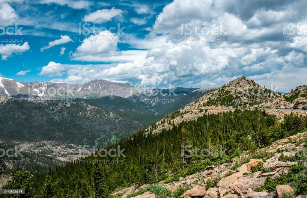 Green summer mountain valley, Rocky Mountain National Park. Colorado. Nature of North America, USA stock photo