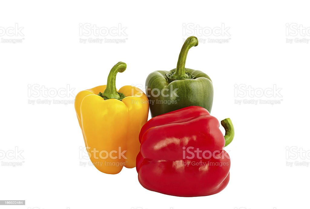 green sweet peppers isolated on white background royalty-free stock photo