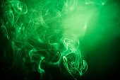 Green swirling smoke abstract close up on black background