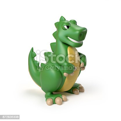 istock Green T rex dinosaur toy 3d rendering isolated illustration on white background 872635338