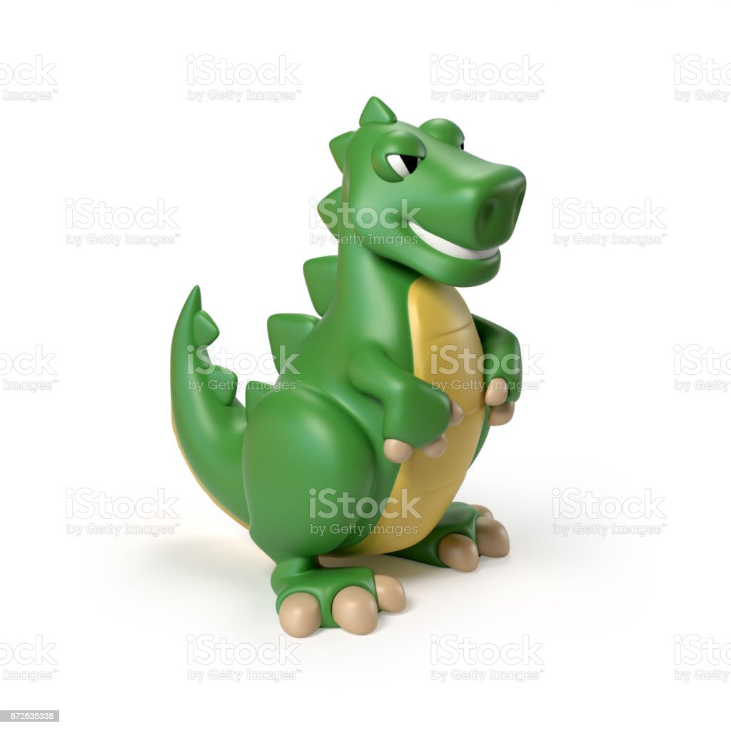 Green T rex dinosaur toy 3d rendering isolated illustration on white background stock photo