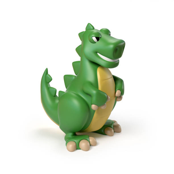 green t rex dinosaurier spielzeug 3d rendering isoliert abbildung auf weißem hintergrund - dinosaurier illustration stock-fotos und bilder