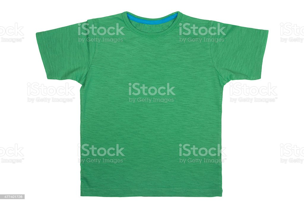 Green T- shirt isolated on white background stock photo