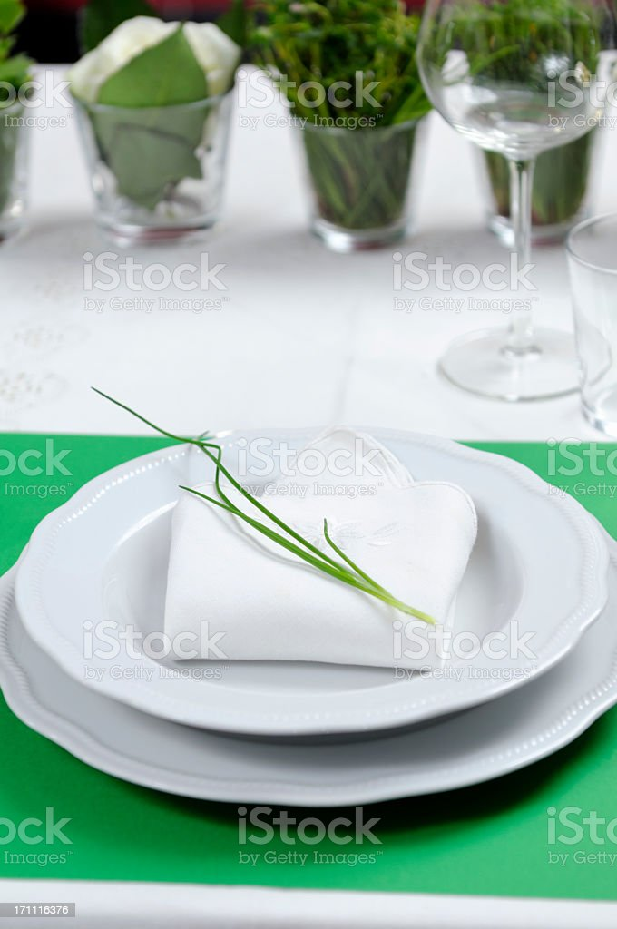 Green Table Setting royalty-free stock photo