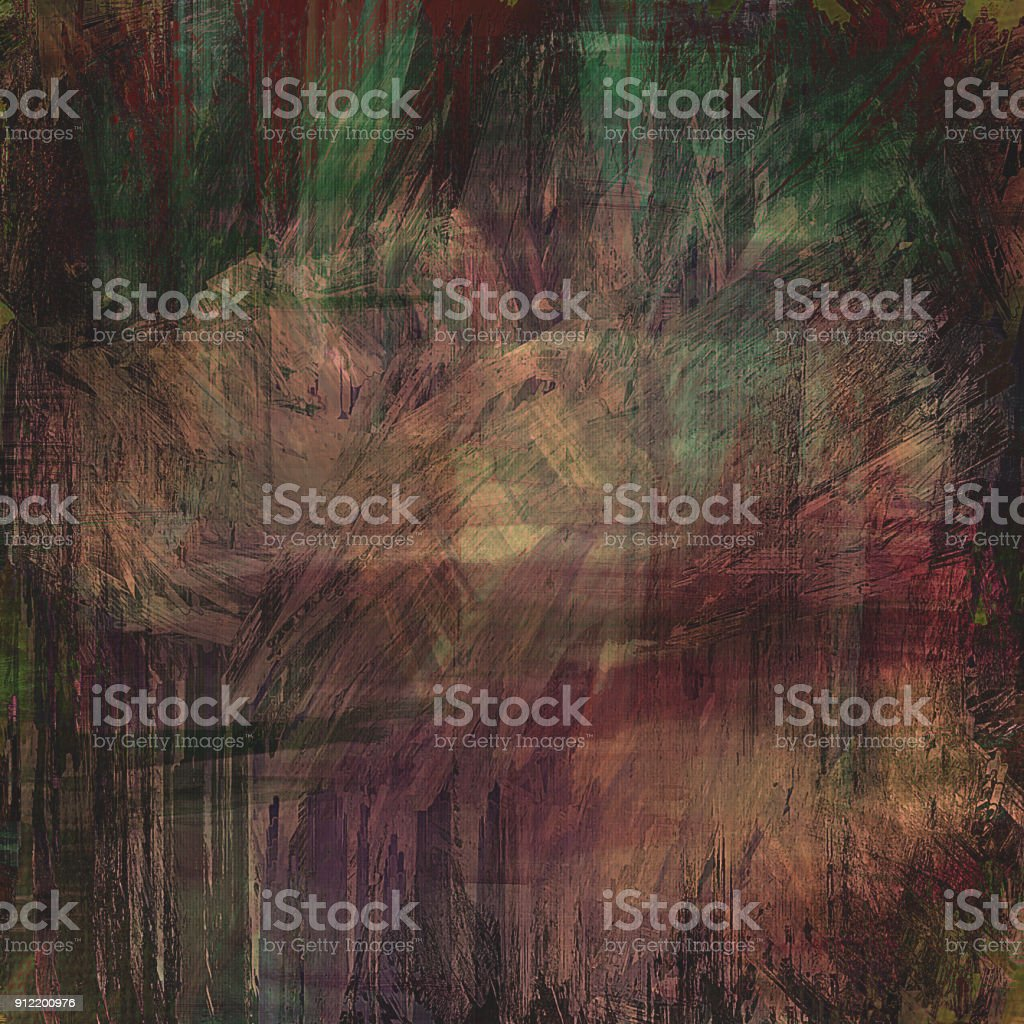 green tan red dark grungy abstract painted background stock photo