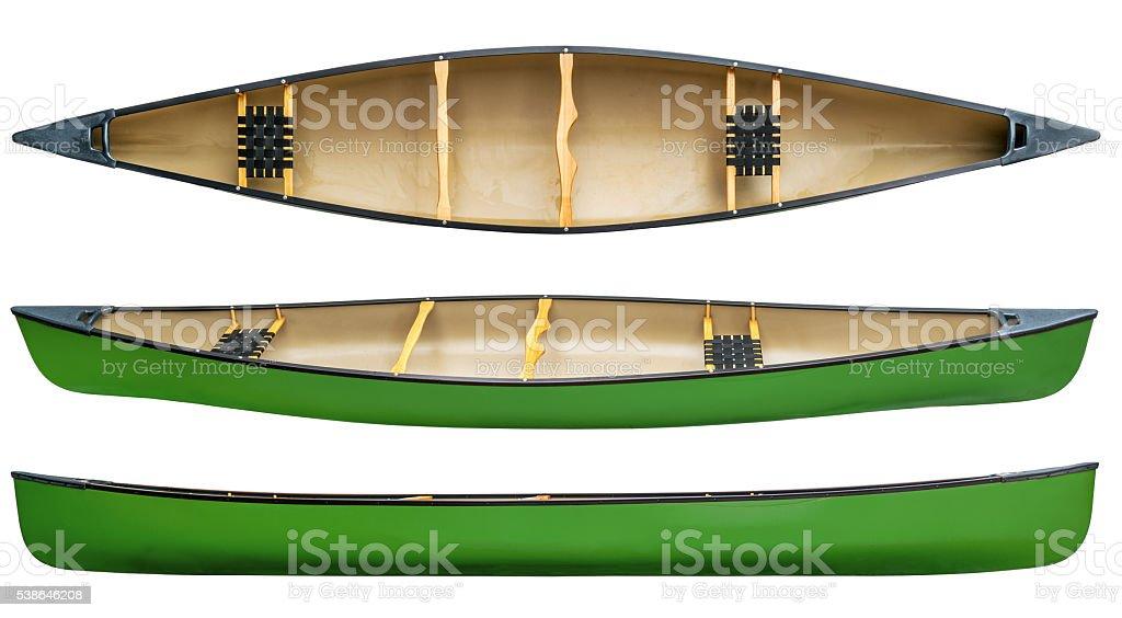 green tandem canoe isolated stock photo