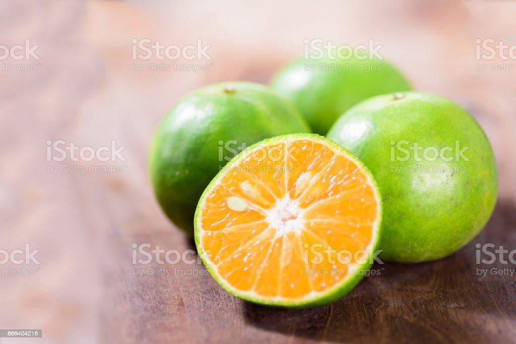 Grüne Mandarine orange Früchte – Foto