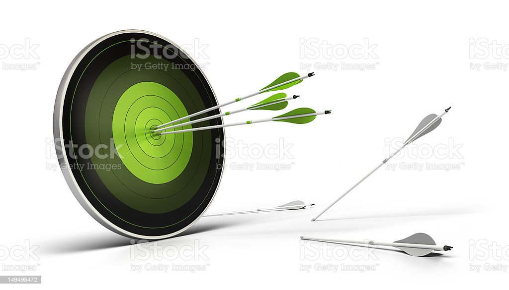 green target and arrows hitting the center stock photo