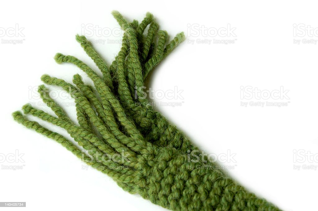 Green Tassels on a Scarf royalty-free stock photo