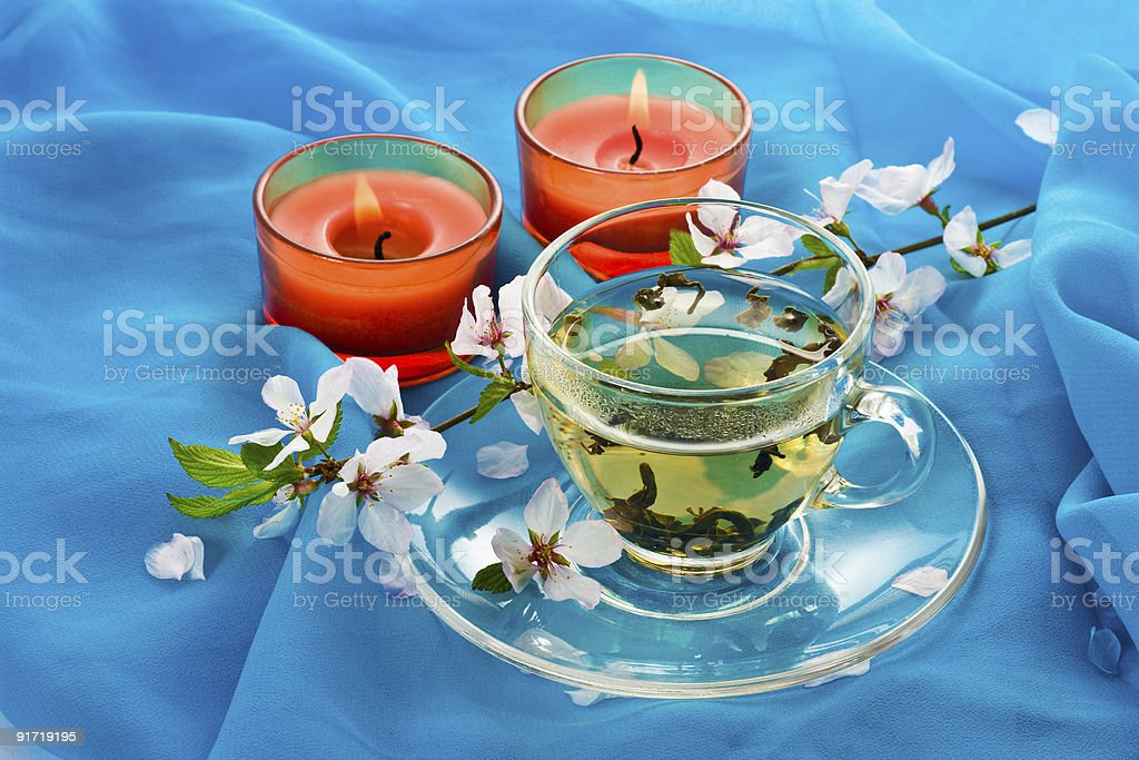 Green tea and aromatic candles royalty-free stock photo