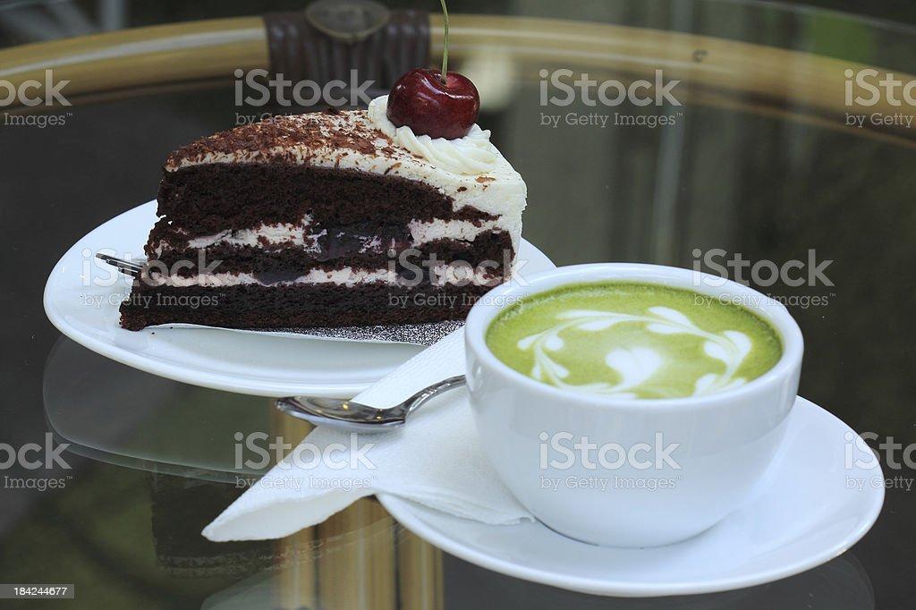 Green tea and cake royalty-free stock photo